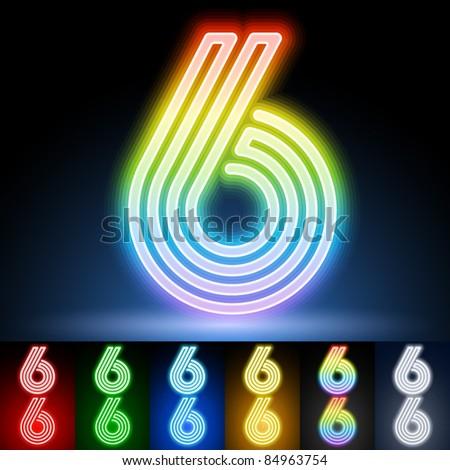 Alphabet of neon tubes. letter 6 - stock vector