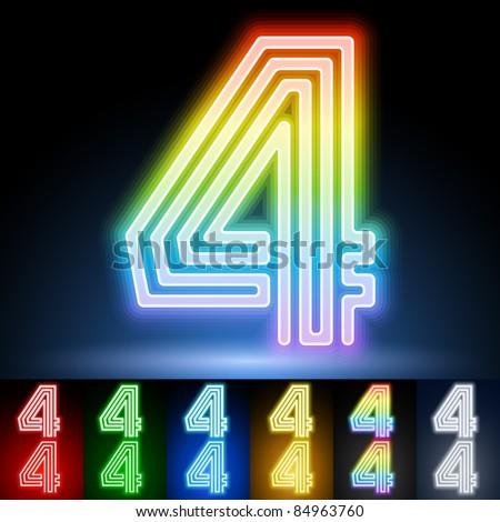 Alphabet of neon tubes. letter 4 - stock vector