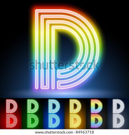 Alphabet of neon tubes. letter d - stock vector