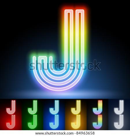 Alphabet of neon tubes. letter j - stock vector