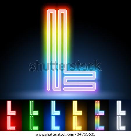 Alphabet of neon tubes. letter l - stock vector