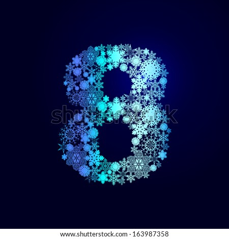 Alphabet of snowflakes. The numbers