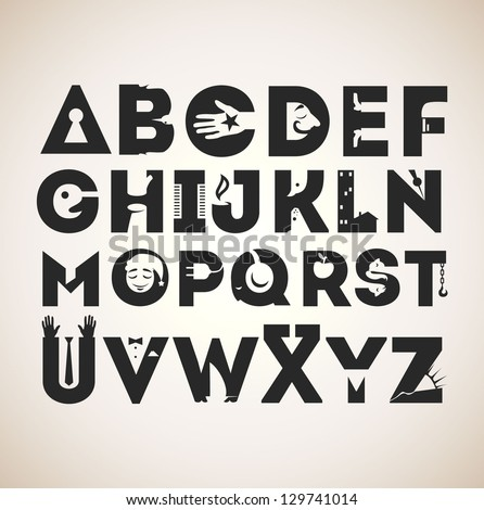 Alphabet of symbols. Every letter was illustrated as a creative sign. Minimalistic and smart solutions. Negative space usage. - stock vector
