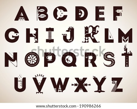 negative space letters alphabet symbols every letter illustrated creative stock 689