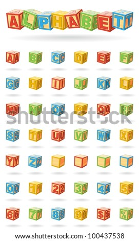 Alphabet on a baby cubes vector. Easy to change colors and rotate blocks. - stock vector