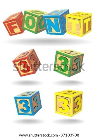 alphabet on a cubes. number 3. - stock vector