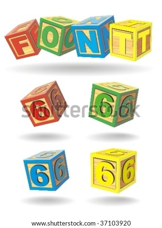 alphabet on a cubes. number 6. - stock vector