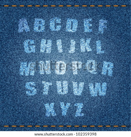 Alphabet on blue jeans background. Vector eps10 illustration. - stock vector