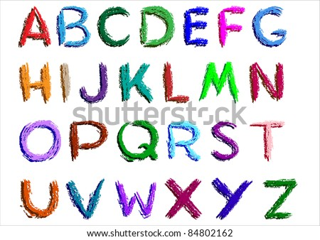 Alphabet over white background.Vector. - stock vector