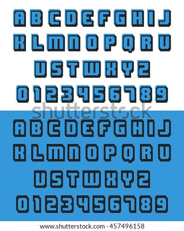 Alphabet pixel font. Letters and numbers old video game design. Vector illustration.