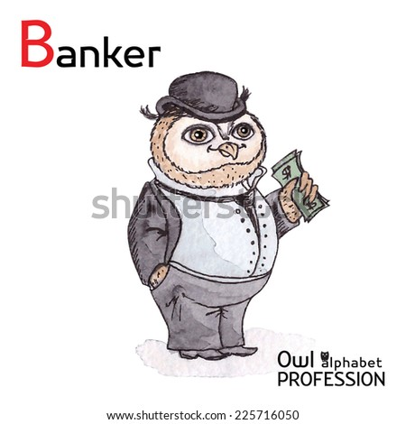 Alphabet professions Owl Letter B - Banker Vector Watercolor - stock vector