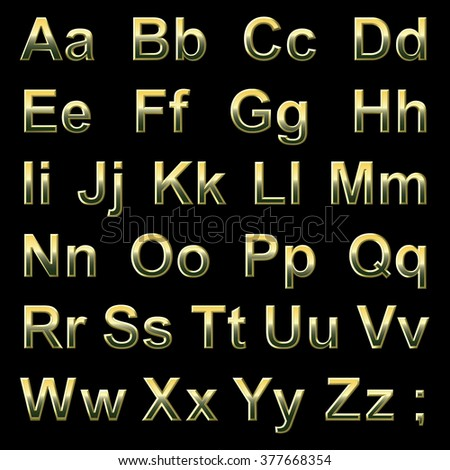 Alphabet pseudo 3d golden letters on a black