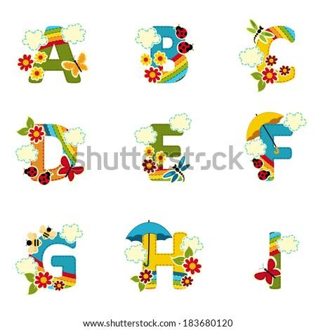 alphabet rainbow from A to I - vector illustration - stock vector