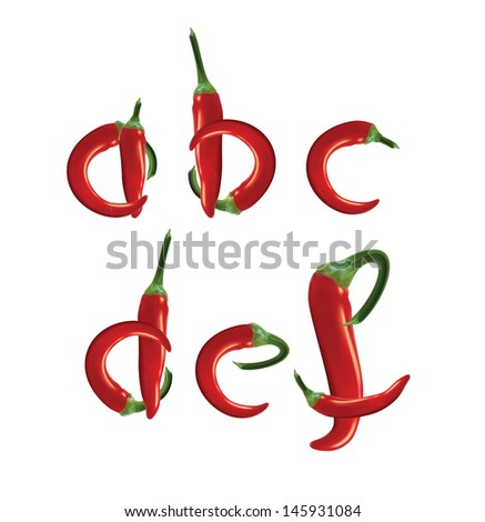 Alphabet, red hot chilli peppers. Editable vector format. - stock vector
