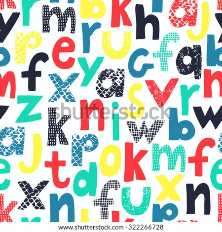 Alphabet seamless pattern for kid design. Bright,funny letters on white background. Vector illustration. - stock vector