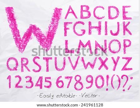 Alphabet set drawn pastel blots a spray pink color. Easily editable. Vector - stock vector