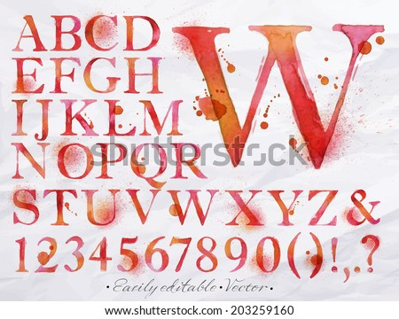 Alphabet set drawn watercolor blots and stains with a spray red color. Easily editable. Vector - stock vector