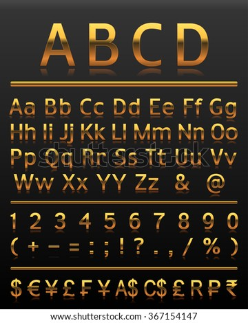 Alphabet set 2 gold all letters. Alphabet, numbers, and symbols in gold style on a dark background.