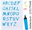 Alphabet set - letters are made of blue marker - stock vector