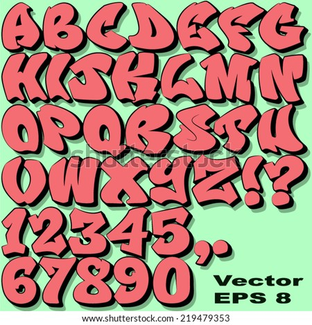 Alphabet Set of Graffiti Letters and Numbers. - Vector EPS 8.