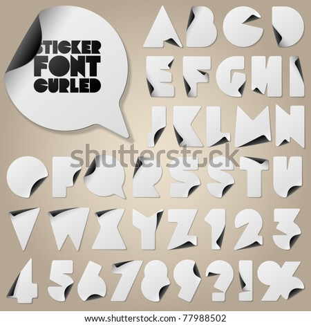 Alphabet set of symbols in the form of stickers. With curls - stock vector