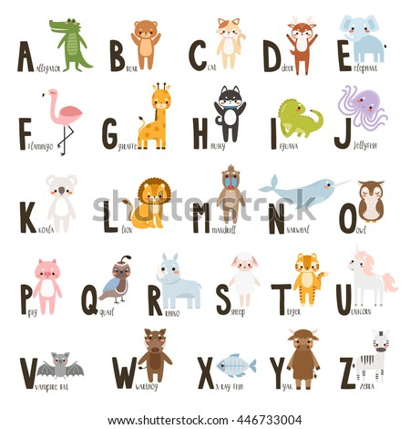 alphabet set with cute cartoon animals. letters form a to z. cute animals alphabet on white background. can be used like poster or for greeting cards