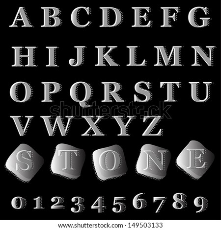 Alphabet stone style. Vector illustration.