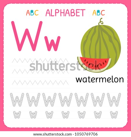 Alphabet Tracing Worksheet For Preschool And Kindergarten. Writing Practice  Letter W. Exercises For Kids