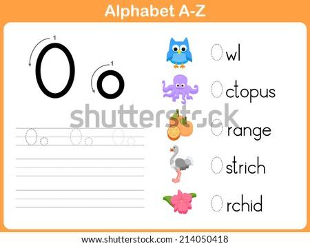 Alphabet Tracing Worksheet Writing Az Stock Vector 214050487 ...