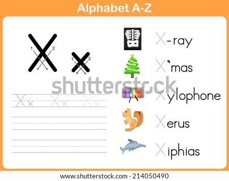 Alphabet Tracing Worksheet Writing Az Stock Vector 214050466 ...