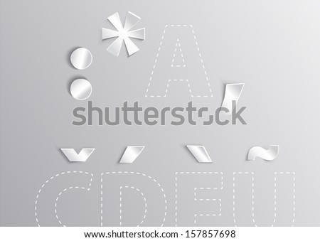 Alphabet white letter with shadow Latin Extended character - stock vector