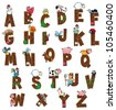Alphabet with animals and farmers. Funny cartoon and vector isolated letters. - stock