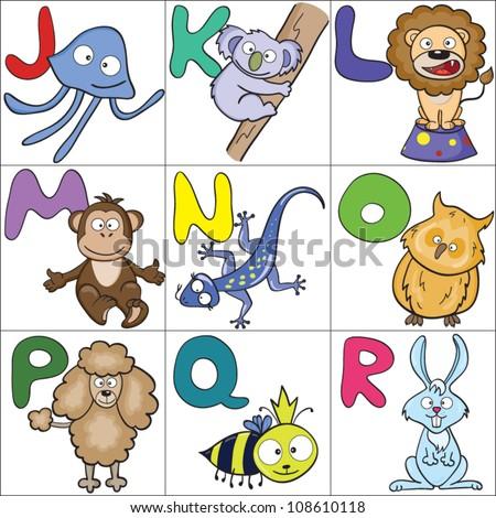 Alphabet with cartoon animals 2 - stock vector