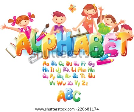 Alphabet with children  - stock vector