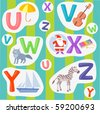 alphabet with pictures - stock vector