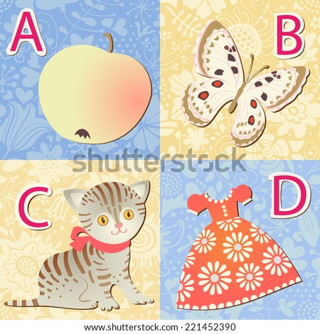 Alphabet with pictures. A, B, C, D letters. Vector illustration. - stock vector