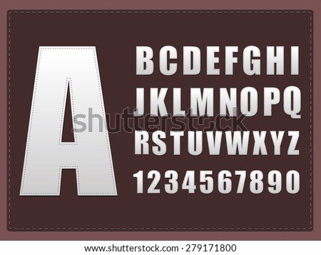Alphabet with stitched vector effect. - stock vector