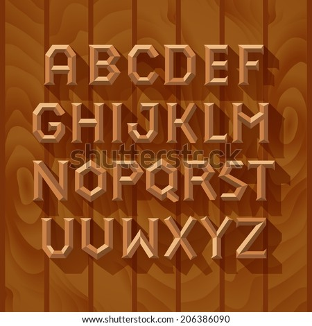 Alphabet wooden font on wood boards background - stock vector