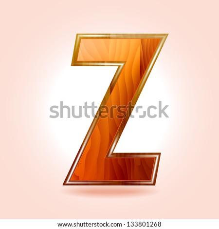 Alphabet wooden, letter Z. Vector - stock vector