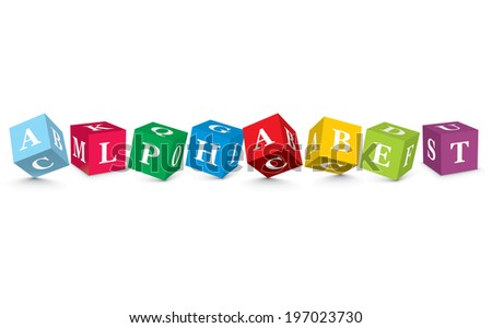 ALPHABET written with alphabet blocks - vector illustration