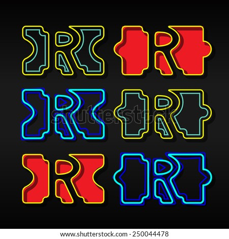 Alphabet written with puzzle - Letter R - stock vector