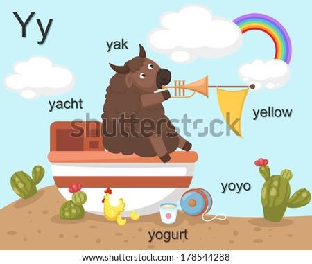 Alphabet Y letter,yak,yacht,yogurt,yoyo,yellow.vector - stock vector