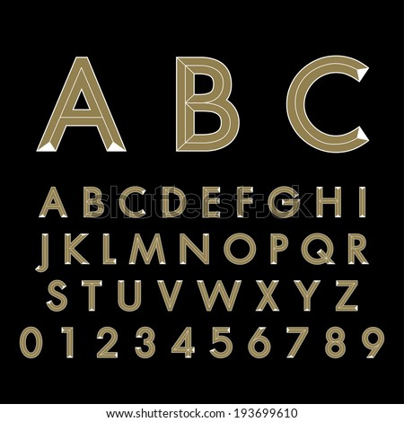 alphabetic fonts - stock vector