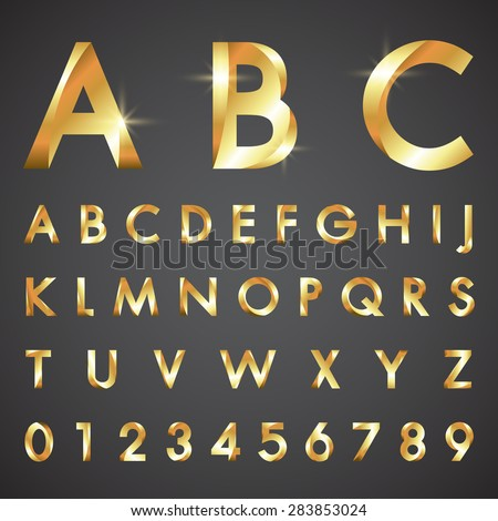 alphabetic fonts and numbers - stock vector