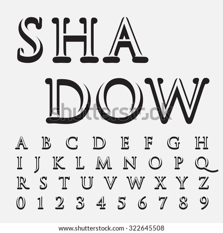 alphabetic fonts and numbers shadow style - stock vector