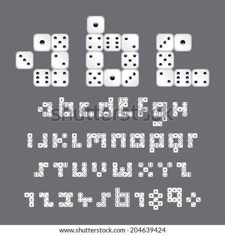 alphabetic fonts and numbers with dice style, vector eps10 - stock vector