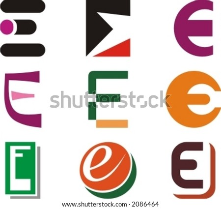 Alphabetical Logo Design Concepts. Letter E. Check my portfolio for more of this series. - stock vector