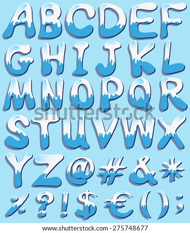 Alphabets and signs in blue and white