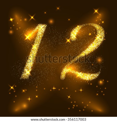 Alphabets Number 1  and 2  of gold glittering stars. Illustration vector