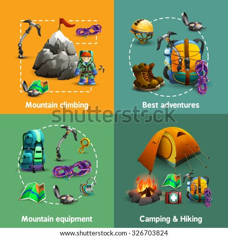 Alpine mountain climbing camping and hiking equipment 4 3d icons square composition banner abstract isolated vector illustration - stock vector